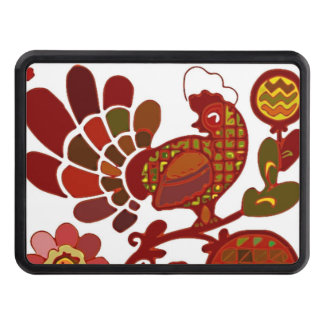 Retro Rooster Orange and Red Print Hitch Covers