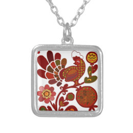 Retro Rooster Orange and Red Print Silver Plated Necklace
