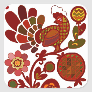 Retro Rooster Orange and Red Print Sticker
