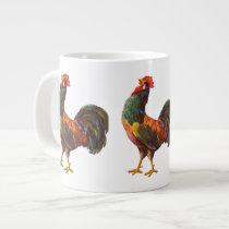 Retro Rooster Vintage Art Jumbo Mug