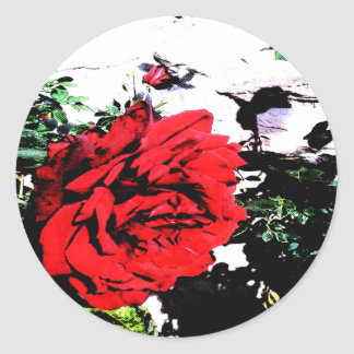 Retro Rose 03 Classic Round Sticker