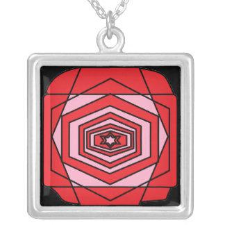 Retro Rose Square Pendant Necklace