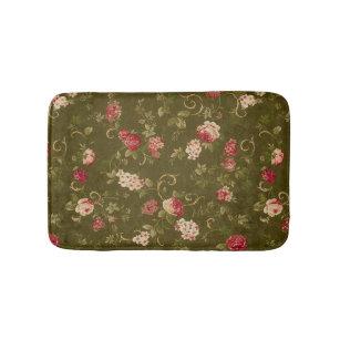 Retro Rose Olive Bathroom Mat