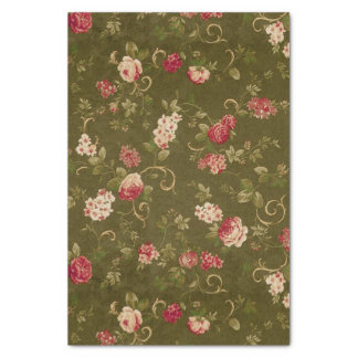 "Retro rose & olive pattern 10"" x 15"" tissue paper"