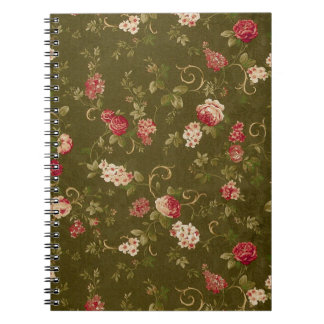 Retro rose & olive pattern spiral notebook