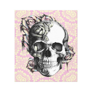 Retro rose skull canvas art on soft pink base. gallery wrapped canvas