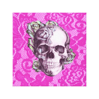 Retro Rose Skull on magenta lace. Canvas Prints