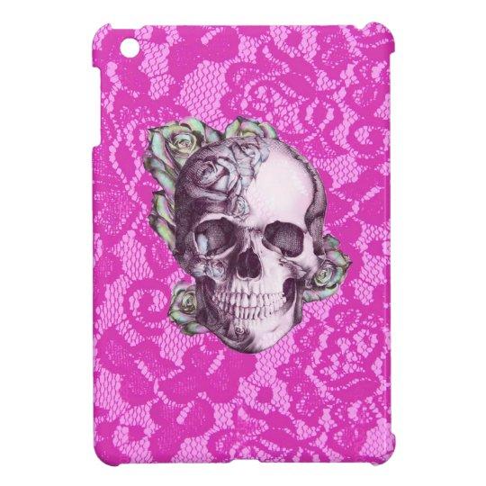Retro Rose Skull on magenta lace. Cover For The iPad Mini