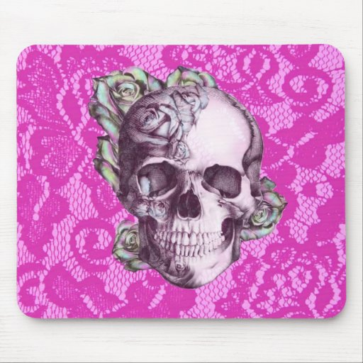 Retro Rose Skull on magenta lace. Mouse Pad
