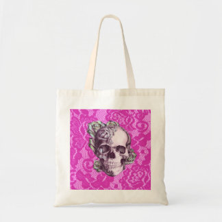 Retro Rose Skull on magenta lace. Tote Bag