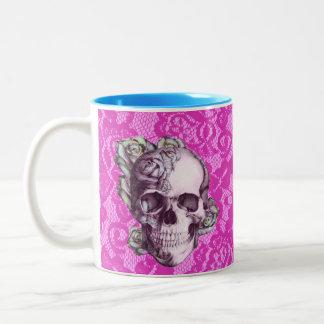 Retro Rose Skull on magenta lace. Two-Tone Coffee Mug