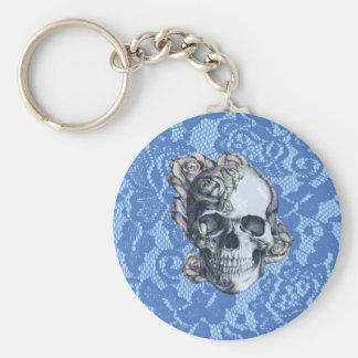 Retro Rose Skull on soft blue lace. Basic Round Button Keychain