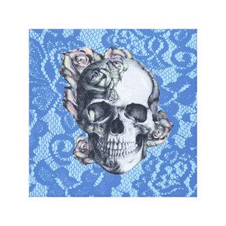 Retro Rose Skull on soft blue lace. Canvas Print