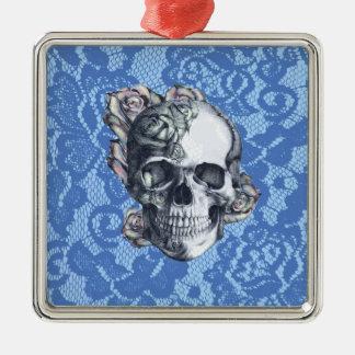 Retro Rose Skull on soft blue lace. Metal Ornament