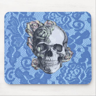 Retro Rose Skull on soft blue lace. Mouse Pad