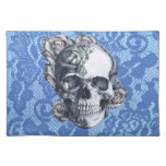 Retro Rose Skull on soft blue lace. Place Mats
