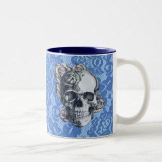 Retro Rose Skull on soft blue lace. Two-Tone Coffee Mug