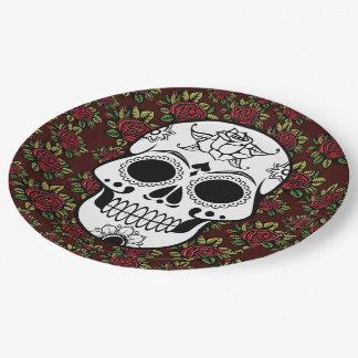 Retro roses skull rockabilly Paper plate