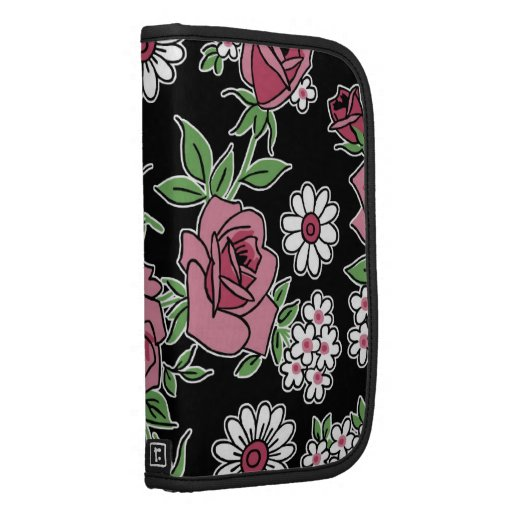 RETRO ROSES, VINTAGE PRINT in Black and Pink Folio Planner