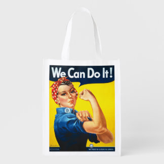 Retro Rosie the Riveter We can do it Reusable Grocery Bag