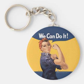 Retro Rosie We Can Do It Basic Round Button Keychain