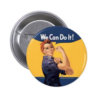Retro Rosie We Can Do It Pinback Buttons