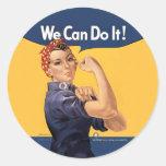 Retro Rosie We Can Do It Round Stickers