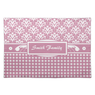 Retro Rosy Pink 1930s Pretty Floral Damask Cloth Placemat