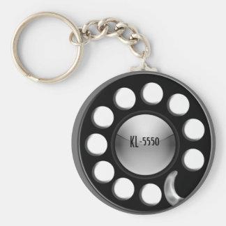 retro rotary basic round button keychain