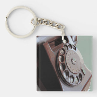 Retro Rotary Dial Phone Vintage Design Double-Sided Square Acrylic Keychain