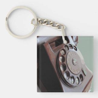 Retro Rotary Dial Phone Vintage Design Keychain