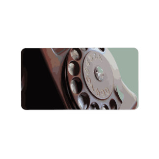 Retro Rotary Dial Phone Vintage Design Label