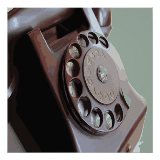 Retro Rotary Dial Phone Vintage Design Print