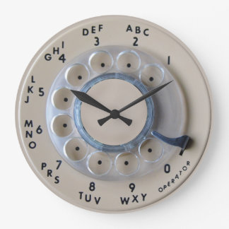 Retro Rotary Phone Dial Large Clock