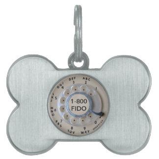Retro Rotary Phone Dial Pet Tags