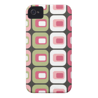 Retro rounded rectangles pink green gray skin iPhone 4 cover