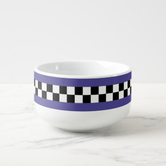 retro royal purple striped checkers soup bowl with handle