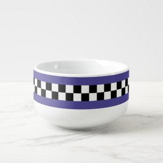 retro royal purple striped checkers soup mug