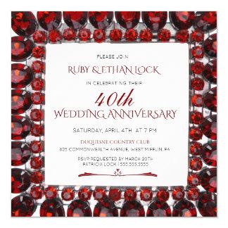 Retro Ruby Frame/Ruby 40th Wedding Anniversary Card