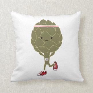 Retro Running Artichoke Throw Pillow