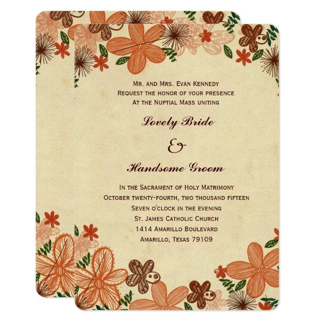 Amazing Retro Rust Orange Flowers Catholic Wedding Card