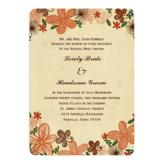 Retro Rust Orange Flowers Catholic Wedding Card