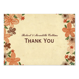 Retro Rust Orange Flowers Personalized Thank You Card