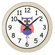 Retro Rustic Custom Owl Large Clock