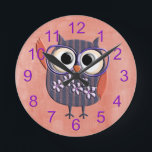 "Retro Rustic Custom Owl Round Clock<br><div class=""desc"">This is an awesome owl design that makes the perfect gift for any occasion.</div>"