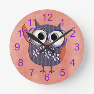Retro Rustic Custom Owl Round Clock