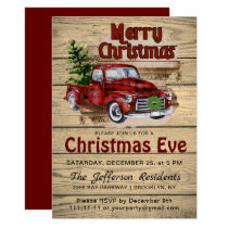 Retro Rustic Farm Red Truck Christmas Eve Party Invitation