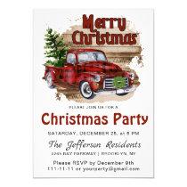 Retro Rustic Farm Red Truck Christmas Party Invitation