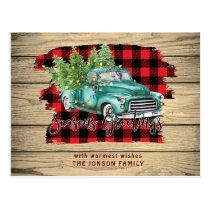 Retro Rustic Farm Truck Christmas PHOTO Greeting Postcard