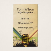 Retro Rustic microphone singer music Business card